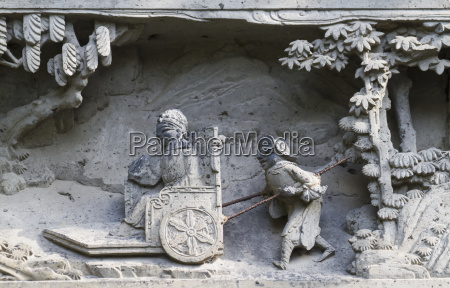 stone carvings on the entrance gate