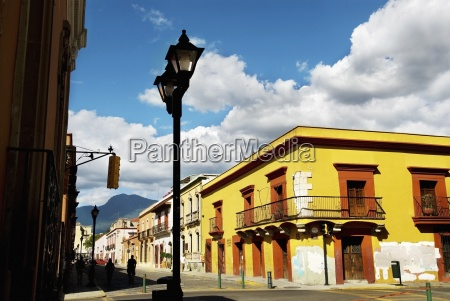 street scene with colorful buildings mexico