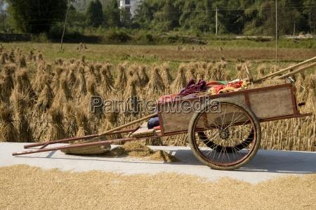 un rickshaw parqueado al lado de