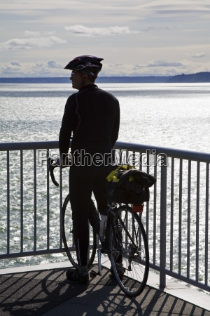 cyclist on bell street pier seattle