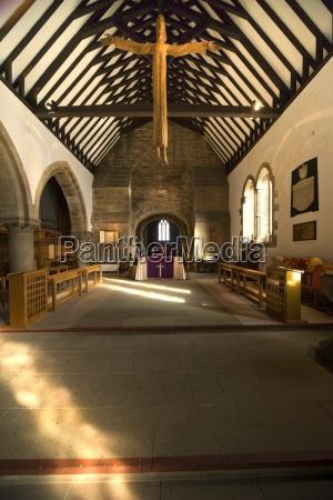 the interior of a small church