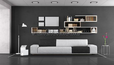 black, and, white, modern, living, room - 25416514