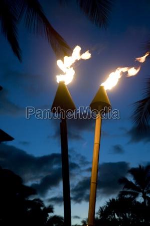 flaming torches maui hawaii usa