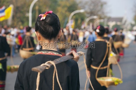 marching in flower festival chiang mai