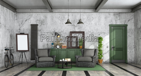 living, room, in, industrial, style - 25417116
