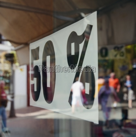 fifty percent discount sign in shop