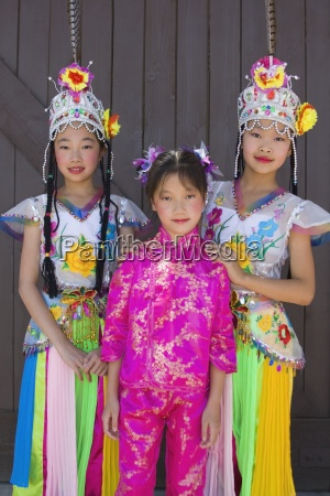 young thai dancers in asian festival