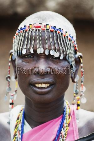 woman in headdress maasai mara kenya