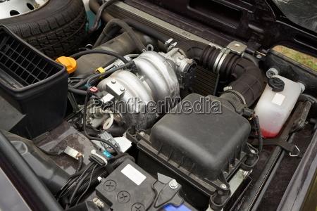 old car engine bay