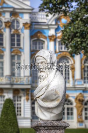 garden statue catherine palace background tsarskoye