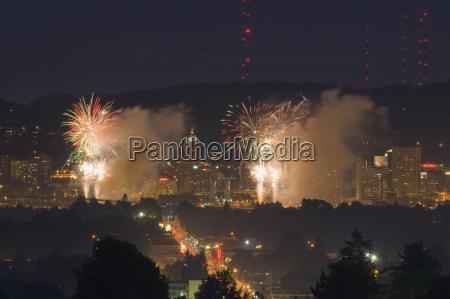 fireworks display portland oregon usa