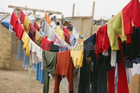 laundry hanging on clothesline lima peru