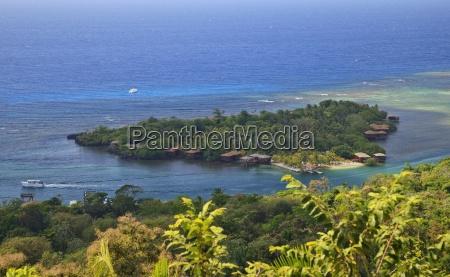 roatan bay islands honduras aerial view