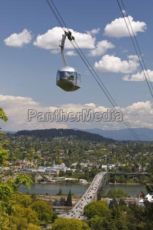 portland, aerial, (ohsu), tram;, portland, , oregon, - 25428986