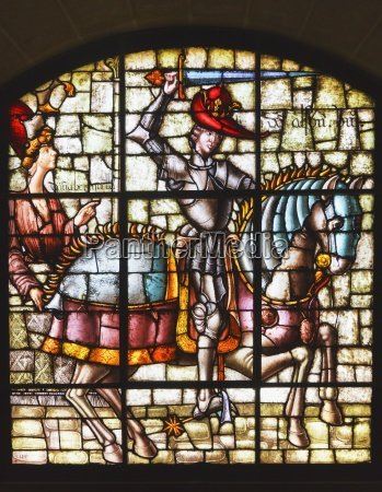 stained glass window in the alcazar