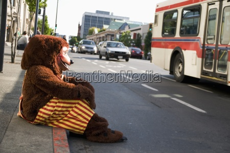 a brown bear mascot sitting and