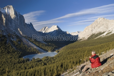 a hiker admiring the view over