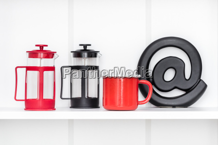 several cups french press and an
