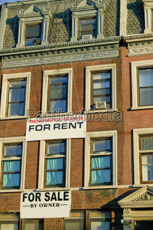 building with a rent and sale