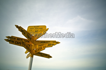 signpost with destinations and distances bluff