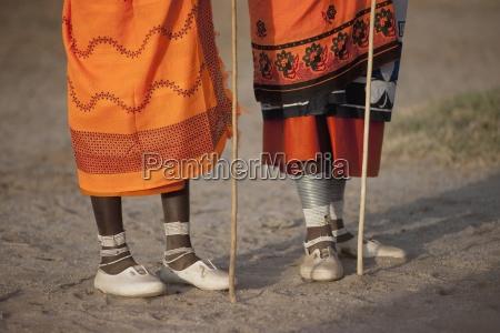 the feet of two maasai women