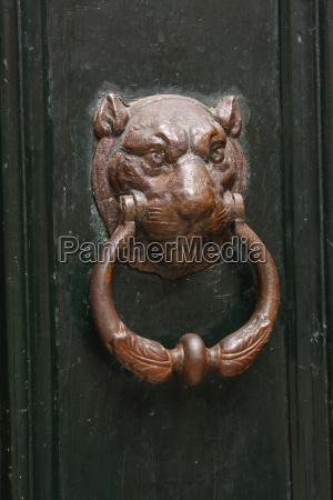 big cat door knocker in the