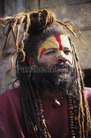 nepal kathmandu headshot of hindu holy