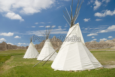 three teepees in badlands national park