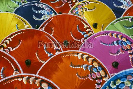 thailand silk umbrella factory close up