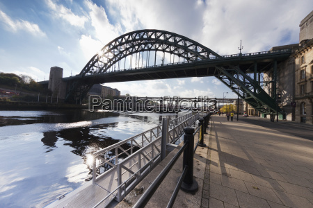 tyne bridge and the promenade beside