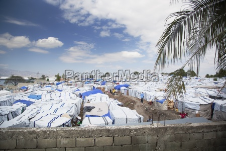 an expanse of tents as temporary