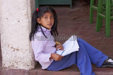girl doing homework sucre chuquisaca department