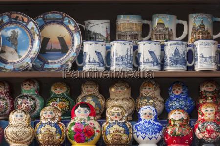 matryoshka dolls plates and mugs on