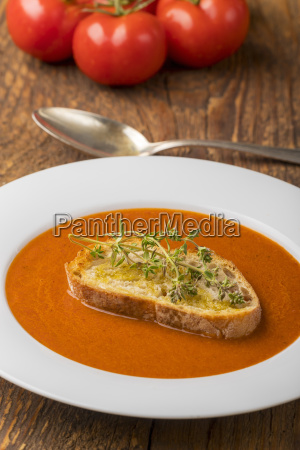 fresh tomato soup in a soup