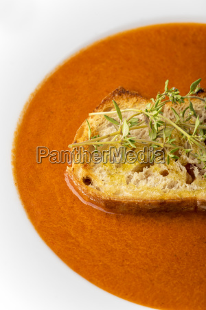 fresh tomato soup in a plate