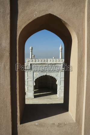 view of the mosque through an