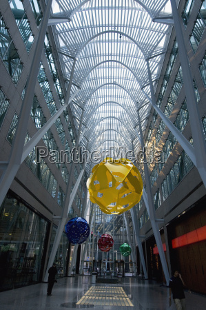 colourful hanging round objects in a