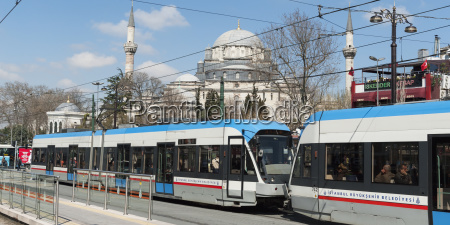 streetcars with a mosque in the
