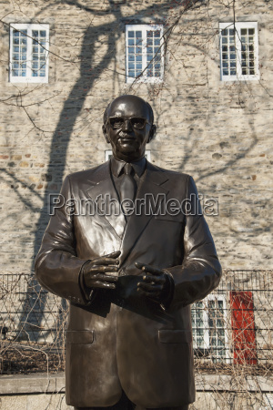 statue of jean drapeau and a