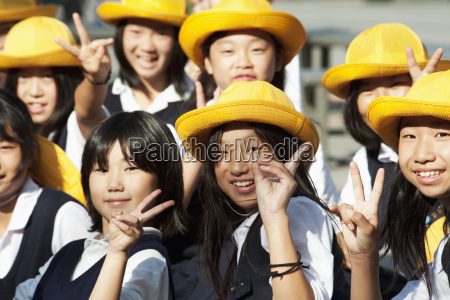 japan kyoto group of school girls