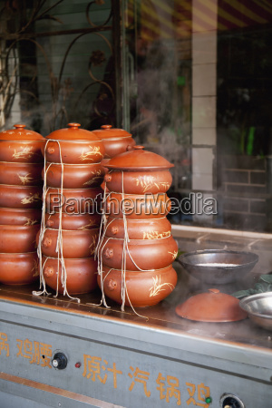 chinese street food in steam pots