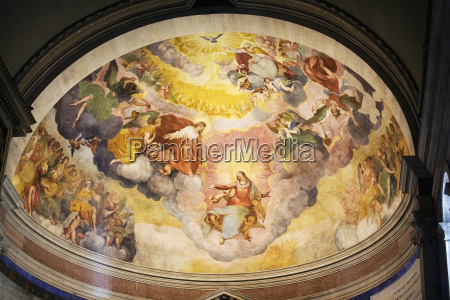 painted fresco on dome cathedral ceiling