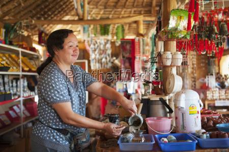 thailand chiang mai server making beverage