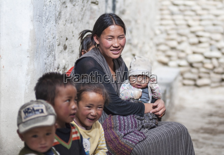 nepal mustang region happy family of