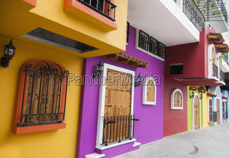 mexico colorful exterior with wood windows