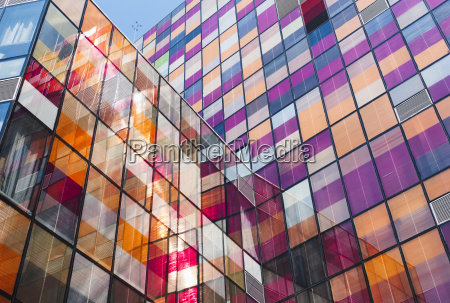 a modern building with colourful squares