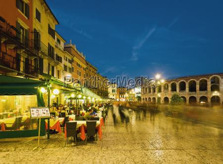 piazza bra at dusk verona italy