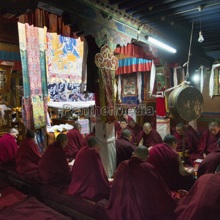 china xizang tibet monks in red