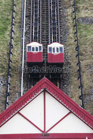 funicular going up and down the