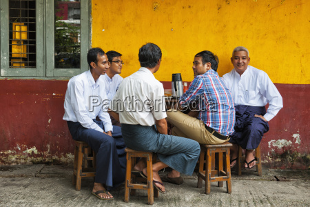 burma men at a teahouse rangoon